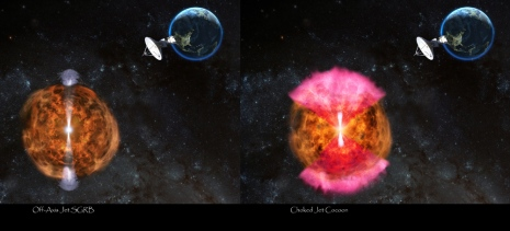 The image to the left shows the off-axis jet (giving rise to a short duration gamma-ray burst - or SGRB). This scenario is ruled out. The image to the right shows a jet within GW170817 (narrow bright beam emanating from GW170817) that has dissipated its energy into the dynamical ejecta (shown in brown/yellow) and thus given rise to a wide-angle outflow (shown in red/pink) - a scenario called the choked-jet cocoon.​ This images is a schematic representation and not to scale. Image credit: NRAO/AUI/NSF: D. Berry​