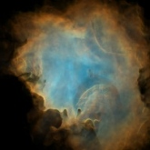 Simulated image of HII region inside a turbulent molecular cloud.
