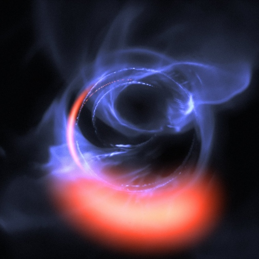 Simulation of Material Orbiting close to a Black Hole.